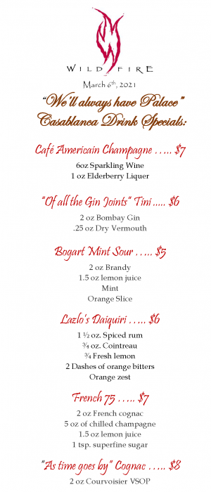 PALACE Casablance Drink Specials